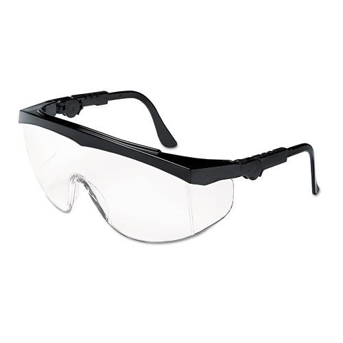 Tomahawk Wraparound Safety Glasses, Black Nylon Frame, Clear Lens, 12/Box. Picture 2
