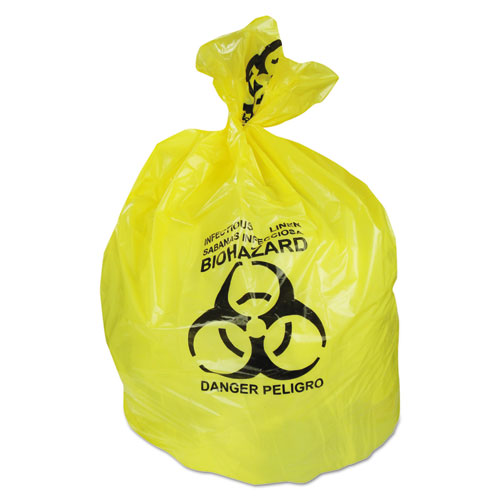 Healthcare Biohazard Can Liners, 20-30 gal, 1.3mil, 30 x 43, Yellow, 200/CT. Picture 1