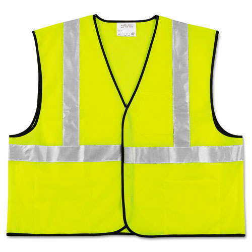Class 2 Safety Vest, Fluorescent Lime w/Silver Stripe, Polyester, Large. Picture 1