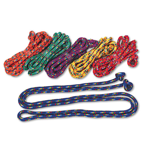 Braided Nylon Jump Ropes, 8ft, 6 Assorted-Color Jump Ropes/Set. Picture 1