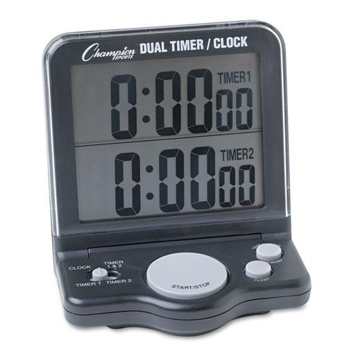 Dual Timer/Clock w/Jumbo Display, LCD, 3 1/2 x 1 x 4 1/2. The main picture.