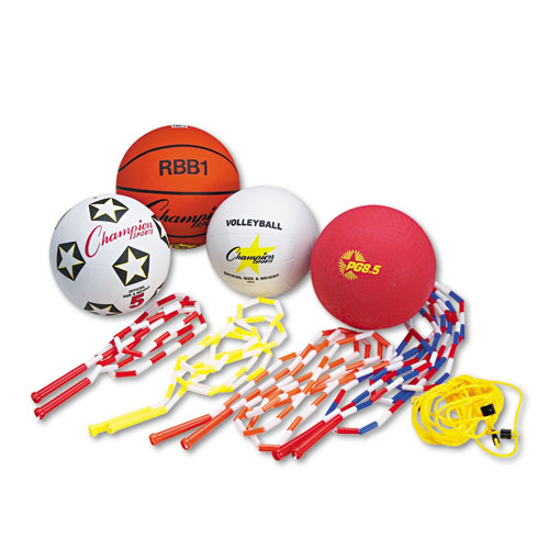 Physical Education Kit w/Seven Balls, 14 Jump Ropes, Assorted Colors. Picture 1