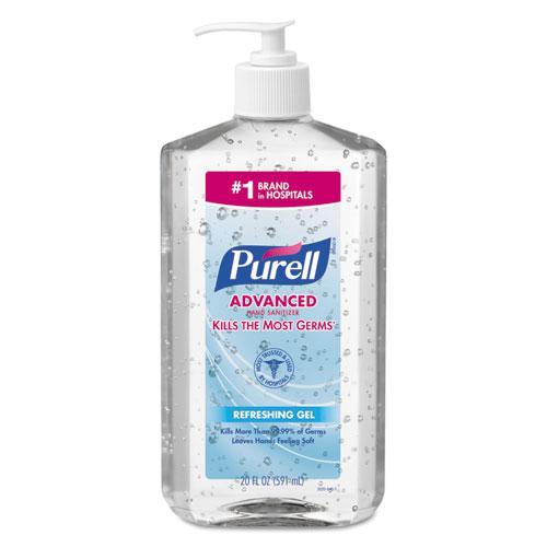 Advanced Hand Sanitizer Refreshing Gel, Clean Scent, 20 oz Pump Bottle, 12/Carton. Picture 1