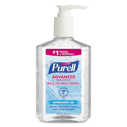 Advanced Refreshing Gel Hand Sanitizer, Clean Scent, 8 oz Pump Bottle. Picture 1