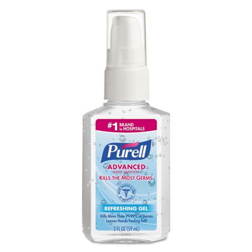 Advanced Gel Hand Sanitizer, Refreshing Scent, 2 oz Pump Bottle, 24/Carton. Picture 1