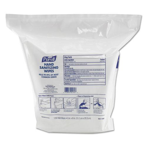 """Hand Sanitizing Wipes, 6"""" x 8"""", White, Fresh Citrus Scent, 1200/Refill Pouch, 2 Refills/Carton. Picture 1"""