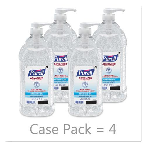 Advanced Hand Sanitizer Refreshing Gel, Clean Scent, 2 L Pump Bottle, 4/Carton. Picture 4