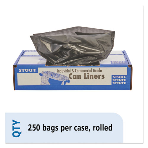 100% Recycled Plastic Trash Bags, 7-10gal, 1mil, 24 x 24, Brown/Black, 250/CT. Picture 1