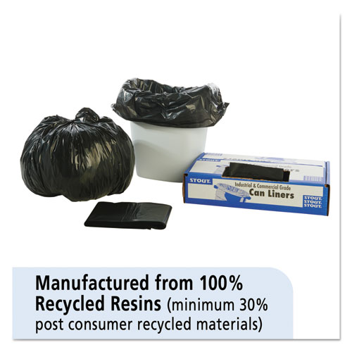 100% Recycled Plastic Trash Bags, 7-10gal, 1mil, 24 x 24, Brown/Black, 250/CT. Picture 3