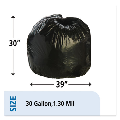"""Total Recycled Content Plastic Trash Bags, 30 gal, 1.3 mil, 30"""" x 39"""", Brown/Black, 100/Carton. Picture 3"""