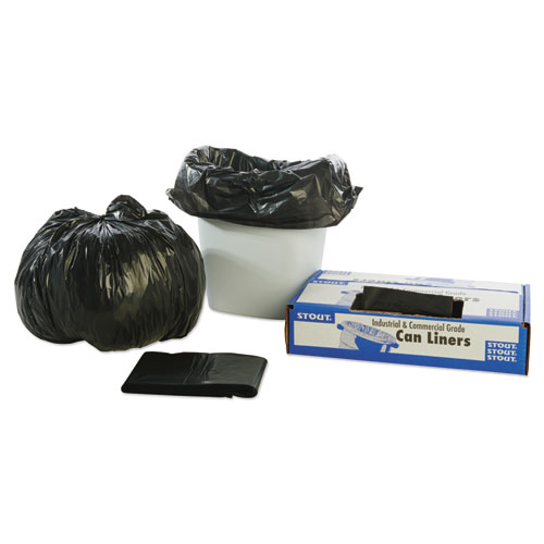 100% Recycled Plastic Trash Bags, 7-10gal, 1mil, 24 x 24, Brown/Black, 250/CT. Picture 4