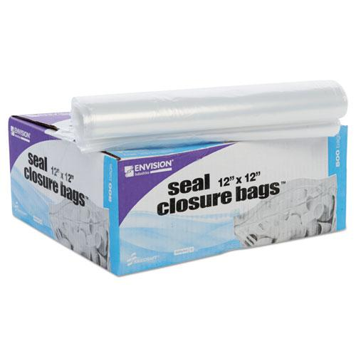 "Seal Closure Bags, 2 mil, 12"" x 12"", Clear, 500/Carton. Picture 5"