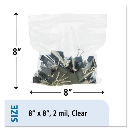 Zip-Seal Closure Bags, Clear, 8 x 8, 1000/Carton