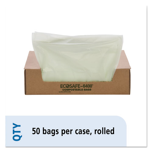 """EcoSafe-6400 Bags, 32 gal, 0.85 mil, 33"""" x 48"""", Green, 50/Box. Picture 1"""