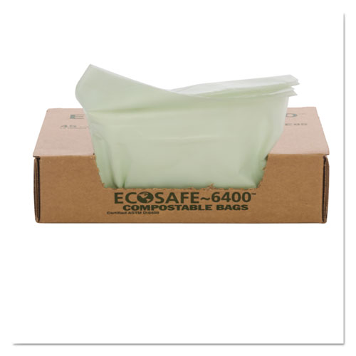 """EcoSafe-6400 Bags, 32 gal, 0.85 mil, 33"""" x 48"""", Green, 50/Box. Picture 4"""