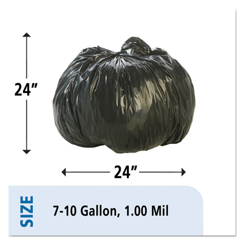 100% Recycled Plastic Trash Bags, 7-10gal, 1mil, 24 x 24, Brown/Black, 250/CT. Picture 7