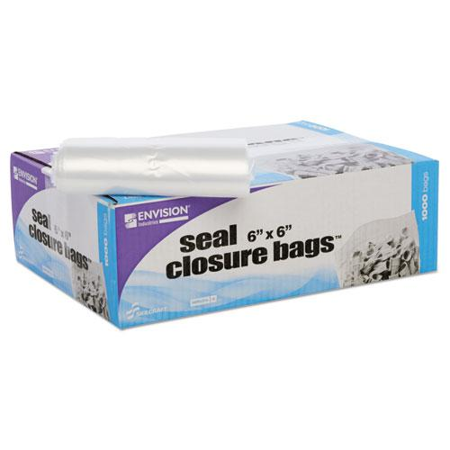 Zip-Seal Closure Bags, Clear, 6 x 6, 1000/Carton. Picture 11