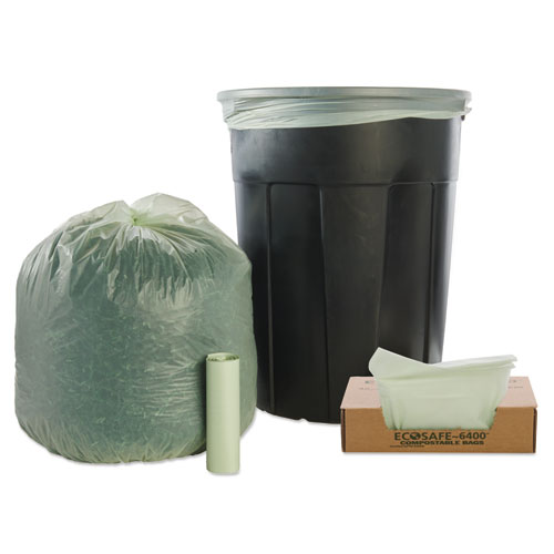 """EcoSafe-6400 Bags, 32 gal, 0.85 mil, 33"""" x 48"""", Green, 50/Box. Picture 5"""