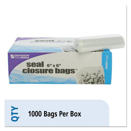 Zip-Seal Closure Bags, Clear, 6 x 6, 1000/Carton. Picture 1