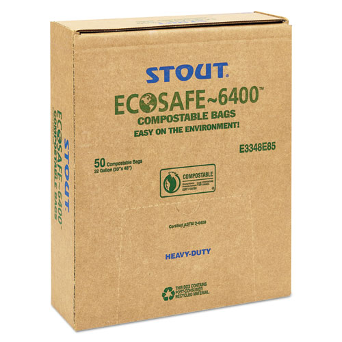 """EcoSafe-6400 Bags, 32 gal, 0.85 mil, 33"""" x 48"""", Green, 50/Box. Picture 6"""