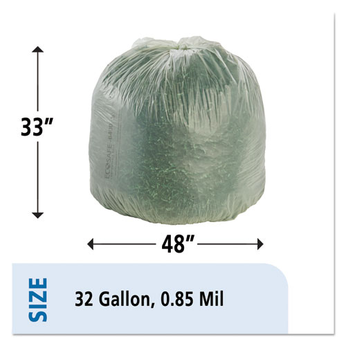 """EcoSafe-6400 Bags, 32 gal, 0.85 mil, 33"""" x 48"""", Green, 50/Box. Picture 7"""