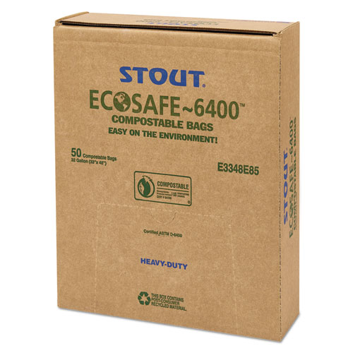 """EcoSafe-6400 Bags, 32 gal, 0.85 mil, 33"""" x 48"""", Green, 50/Box. Picture 8"""
