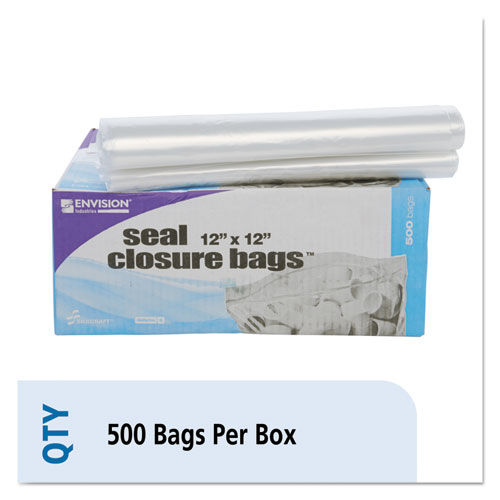 "Seal Closure Bags, 2 mil, 12"" x 12"", Clear, 500/Carton. Picture 1"