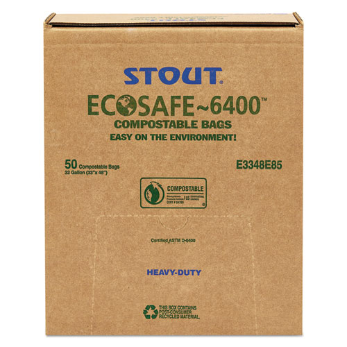 """EcoSafe-6400 Bags, 32 gal, 0.85 mil, 33"""" x 48"""", Green, 50/Box. Picture 9"""