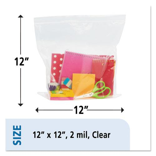 "Seal Closure Bags, 2 mil, 12"" x 12"", Clear, 500/Carton. Picture 14"