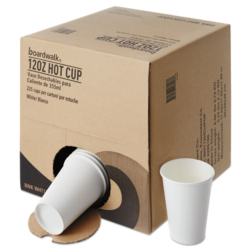 Convenience Pack Paper Hot Cups, 12 oz, White, 9 Cups/Sleeve, 25 Sleeves/Carton. Picture 2