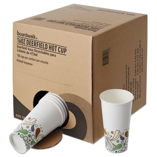 Convenience Pack Paper Hot Cups, 16 oz, Deerfield Print, 9 Cups/Sleeve, 20 Sleeves/Carton. Picture 2