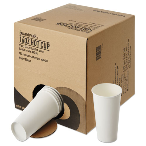 Convenience Pack Paper Hot Cups, 16 oz, White, 9 Cups/Sleeve, 20 Sleeves/Carton. Picture 2