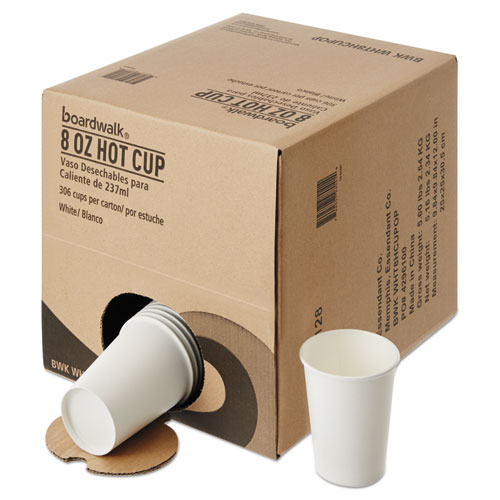 Convenience Pack Paper Hot Cups, 8 oz, White, 9 Cups/Sleeve, 34 Sleeves/Carton. Picture 2