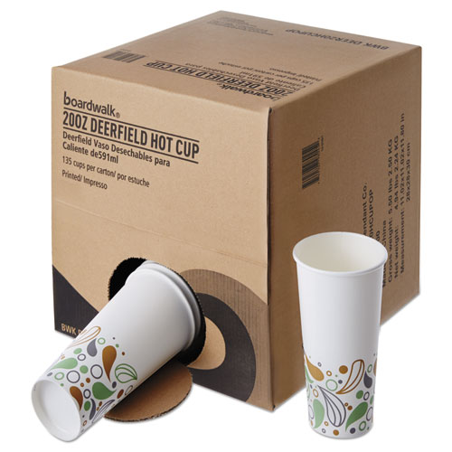 Convenience Pack Paper Hot Cups, 20 oz, Deerfield Print, 9 Cups/Sleeve, 15 Sleeves/Carton. Picture 2