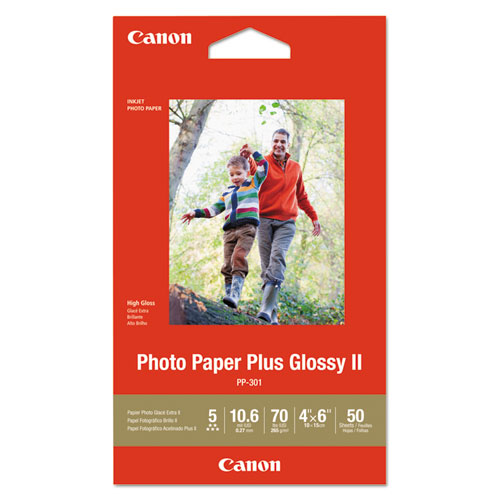 Photo Paper Plus Glossy II, 4 x 6, Glossy White, 50/Pack. Picture 1