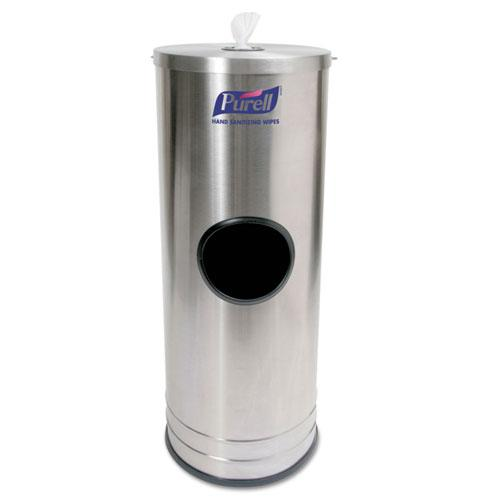 Dispenser Stand for Sanitizing Wipes, 1,500 Wipe Capacity, 10.25 x 10.25 x 14.5, Stainless Steel. Picture 1