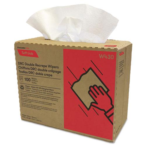 Tuff-Job Double Recrepe Wipers, 9 3/4 x 16 1/2, White, 100/Box, 8 Box/Carton. Picture 1