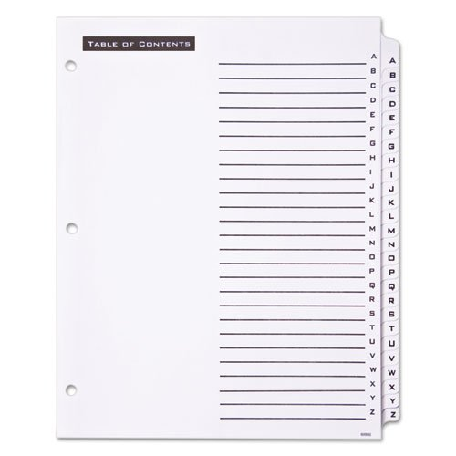 Table 'n Tabs Dividers, 26-Tab, A to Z, 11 x 8.5, White, 1 Set. Picture 2