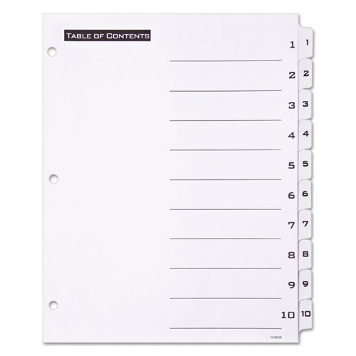 Table 'n Tabs Dividers, 10-Tab, 1 to 10, 11 x 8.5, White, 1 Set. Picture 2