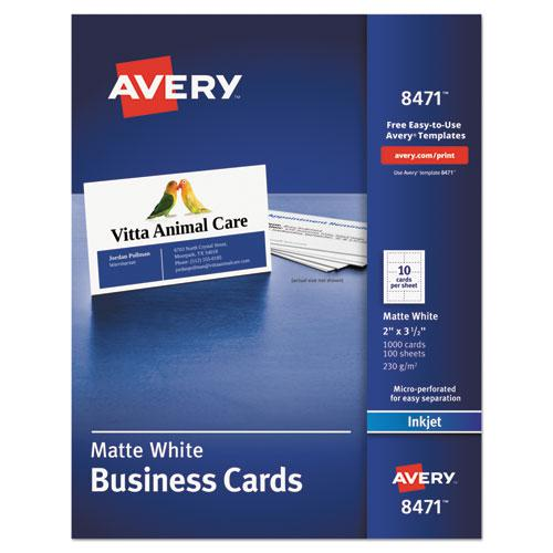 Printable Microperforated Business Cards with Sure Feed Technology, Inkjet, 2 x 3.5, White, Matte, 1000/Box. Picture 1