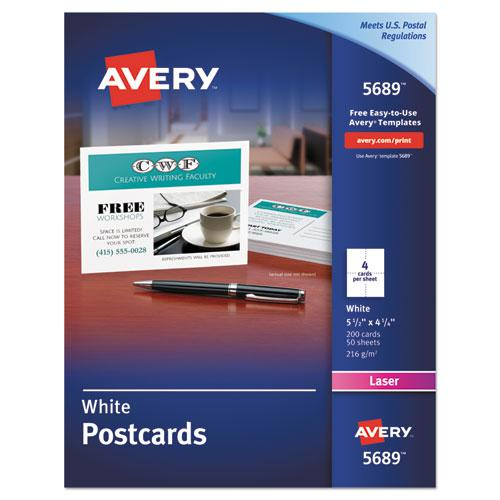 Postcards for Laser Printers, 4 1/4 x 5 1/2, Uncoated White, 4/Sheet, 200/Box. Picture 1