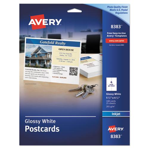 Photo-Quality Glossy Postcards for Inkjet Printers, 4 1/4 x 5 1/2, White, 100/Pk. Picture 1