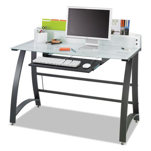 """Xpressions 47"""" Computer Desk, 47"""" x 23"""" x 37"""", Frosted/Black. Picture 1"""