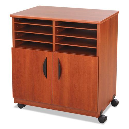 Laminate Machine Stand w/Sorter Compartments, 28w x 19-3/4d x 30-1/4h, Cherry. Picture 3