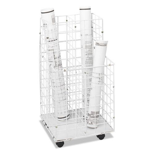 Wire Roll Files, 4 Compartments, 16.25w x 16.5d x 30.5h, White. Picture 1