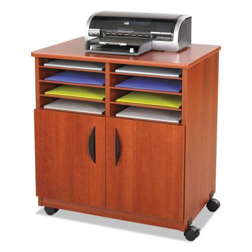 Laminate Machine Stand w/Sorter Compartments, 28w x 19-3/4d x 30-1/4h, Cherry. Picture 1