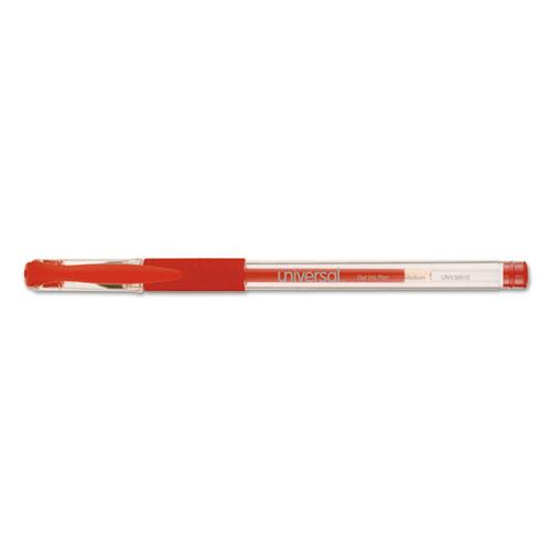 Comfort Grip Stick Gel Pen, Medium 0.7mm, Red Ink, Clear Barrel, Dozen. Picture 2