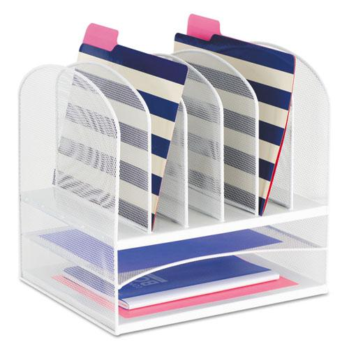 """Onyx Mesh Desk Organizer with Two Horizontal and Six Upright Sections, Letter Size Files, 13.25"""" x 11.5"""" x 13"""", White. Picture 1"""