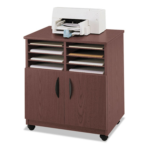 Laminate Machine Stand w/Sorter Compartments, 28w x 19-3/4d x 30-1/4h, Mahogany. Picture 1