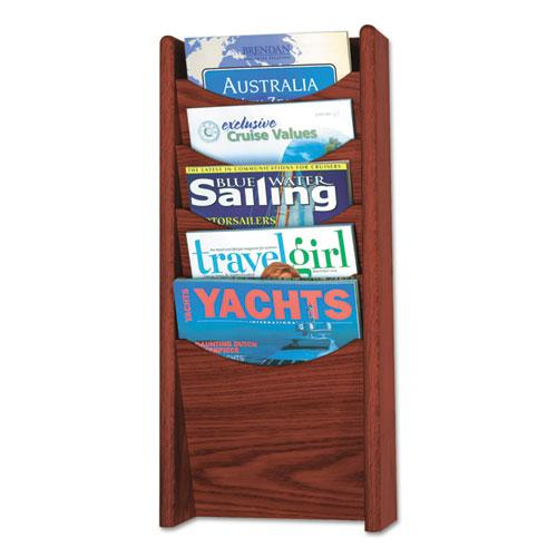 Solid Wood Wall-Mount Literature Display Rack, 11.25w x 3.75d x 23.75h, Mahogany. Picture 1